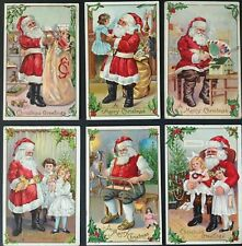 Lot of 6~ Vintage Santa Claus~with Children~Antique~Christma s Postcards-b863