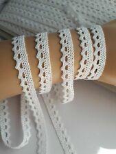 White Cotton Lace Ribbon 10 mm Crafts Decoration Sewing Lace Trim 2 Metres UK