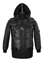 Men's PUFFER Hooded Leather Jacket B3 Bomber Real Lambskin Leather Hoodie Jacket