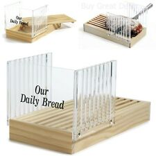 Wood Acrylic Bread Loaf Toast Slicer With Crumb Catcher Slicing Guide NEW