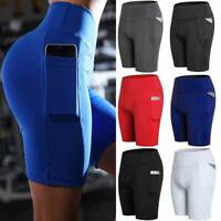 Womens Yoga Shorts High Waisted Athletic Side Pockets Workout Gym Running Bottom