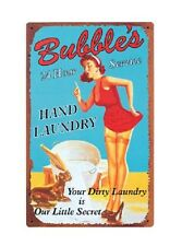 """10 /16"""" X 16"""" Bubbles 24 Hour Hands Laundry Metal Sign New"""