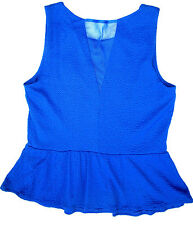 Red Herring cobalt blue crimped sexy V back Mesh insert Fit & flared top 12 New