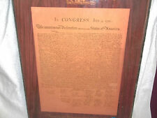 VINTAGE COPY UNITED STATES DECLARATION OF INDEPENDENCE ON PERMINENT MOUNTING