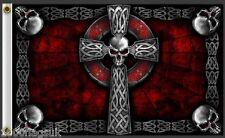 Dark Celtic Cross & Diabolical Skulls 5'x3' Flag