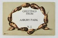 Postcard Greetings From Asbury Park New Jersey Shrimp Border 1907