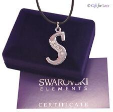 Collana argento Swarovski Element original lettera iniziale donna uomo cristallo