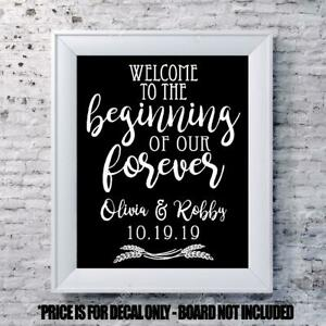 Custom wedding decal Welcome scroll personalized sign mirror chalk board names