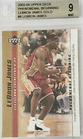 2003-04 LeBron James UD PHENOMENAL BEGINNING GOLD ROOKIE RC #8 BGS 9 w/ 10 PSA