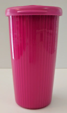 Tupperware Insulated Drink Tumbler Cup & Drip-Free Straw Seal Fuchsia Pink New