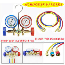 A/C HVAC R12 R134A R22 R502 Diagnostic Manifold Gauge Set Quick Coupler &5ftHose