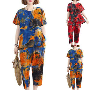 Summer Women Floral Short Sleeve Tops + Pants Suit Casual Baggy Tracksuit Outfit