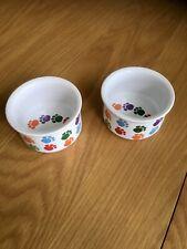 Two Mini Ceramic Pet Dishes Paw Print Designs Cat/Kitten NEW
