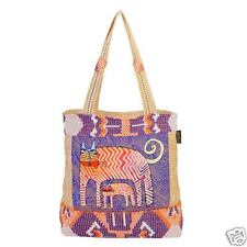Laurel Burch Zig Zag Gatos Cats Tall Tote Bag Beige Denium Blue Orange NWT