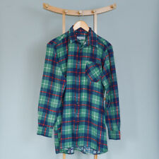 Vintage Plaid Checked Cotton Grunge Indie Flannel Shirt Green Navy Medium 38 40