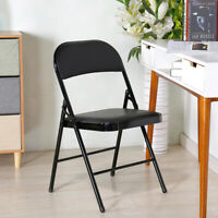 Deluxe Padded Folding Chair Strong Metal Frame Durable Office Hall Guest Seating