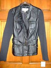 NWT ~ JACLYN SMITH black faux leather jacket w/ sweater sleeves ~ womens S
