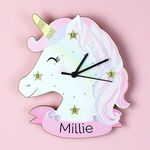 Childrens Personalised Unicorn Shape Wooden Bedroom Clock - Add Girls Name