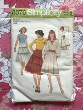 SIMPLICITY 8076 sewing pattern COMPLETE 1977 vintage retro MISS Size 12 Skirt M