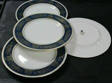 4 Wedgwood Bone China England Columbia Blue & Gold R4509 Dinner Plates
