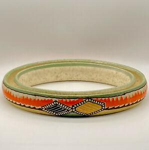 Vintage Czechoslovakia Erphila Art Pottery Pansy Ring Hand Painted Orange Green