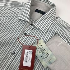 New Ted Baker Archive Mens 15.5 Gray White Striped Long Sleeve French Cuff Shirt