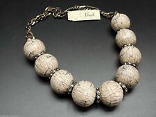 Fossil Beaded Necklace Natural Brass Ox Tone Crystals New NWT