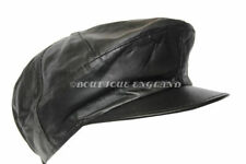 New Mens Captain America Cap Black High Quality Real Genuine Leather Beret Hat