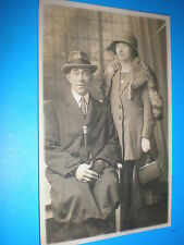 Old real photograph RPPC postcard couple cane handbag Peckham studio c1910s