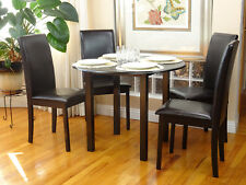5 Pc Dining Room Dinette Kitchen Set Round Table and 4 Fallabela Chairs Espresso