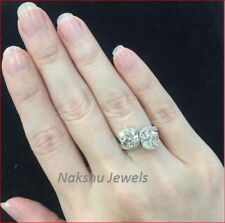 2Ct H-I White Color Round Moissanite 925 Sterling Silver Engagement Ring 2 Stone