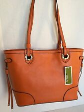 ORYANY SAFFIANO/Crossgrain Leather Tote/AMBER Orange/Bag Purse Handbag/$328/NWT