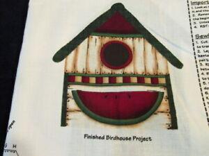 Cut Sew Fabric Panel Makes 2 Stuffed Birdhouse each with a Folk Art Bird AJ128