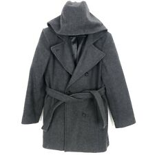 Charles Klein Womens Winter Wool Coat Gray Double Breasted Hooded Sz 6 Small