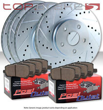(F&R) TOPBRAKES Drill Slot Brake Rotors + POSI QUIET SM Pads TBP8223