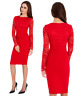 Goddess Red Long Lace Sleeve Bengaline Fitted Cocktail Party Evening Dress