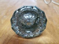 Vintage 12 Point Glass Crystal Brass Door Knob ONLY (FC15-5-G152)