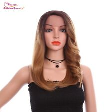 Straight Synthetic Wig Ombre Brown Lace Front Wig Heat Resistant Synthetic