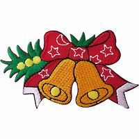 Christmas Bells Red Star Bow Embroidered Iron / Sew On Patch Decoration Badge