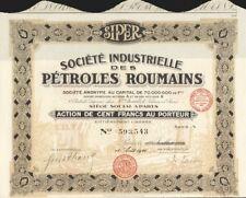 1926 * SIPER * CAMPI DI PETROLIO IN ROMANIA * AZIONE AUTENTICA ORIGINALE