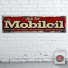 1700 x 430mm MOBIL OIL VINTAGE BANNER Heavy Duty, Officina, Garage, mancave