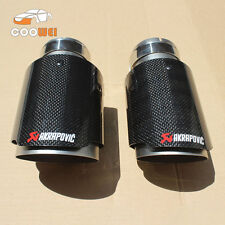 2*Akrapovic Glossy Carbon Fiber Exhaust Muffler tip 63-101mm Universal Tail pipe