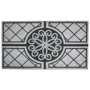 J and M Home Fashions 7703 Medallion Granite Crumb Rubber Printed Flocked Doorma