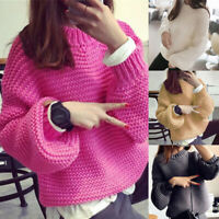 New Womens Fuzzy  Fleece Long Sleeve Sweaters Loose Pullover GIFT