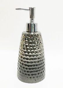 NEW METALLIC SILVER+GRAY HAMMERED CERAMIC REFLECTIVE SOAP,LOTION DISPENSER