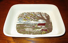 Johnson Bros. 2qt. Rectangular Serving/Vegetable Bowl with Painted Country Scene