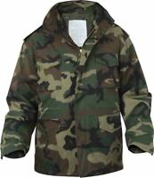 Woodland Camouflage M-65 Field Jacket Army Camo M65 Coat with Liner