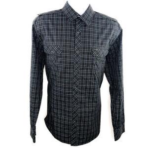 7 Diamonds Mens Shirt Size XL Brown Black Plaid LS Snap Up Western