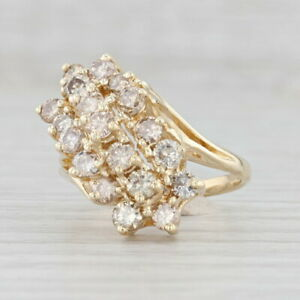 1.75ctw Diamond Cluster Bypass Ring 14k Yellow Gold Size 6.5 Cocktail
