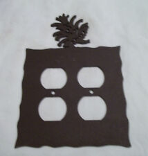 Pine Cone Rustic Heavy Metal Brown Double Outlet Cover Decoration Lodge Cabin